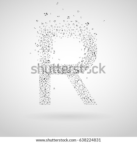 R letter made from floating notes.
