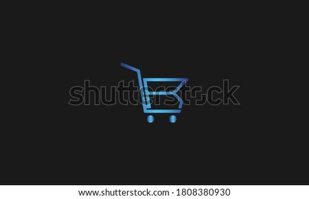 R Letter with Shopping Cart Logo Template vector icon illustration design. Letter R Online Shop Logo Stock fotó ©
