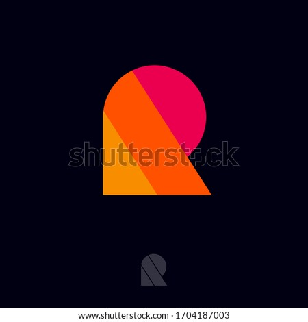 R logo. R letter. Multi color geometric elements as R monogram. Seventies Retro style logo. Monochrome option. Photo stock ©