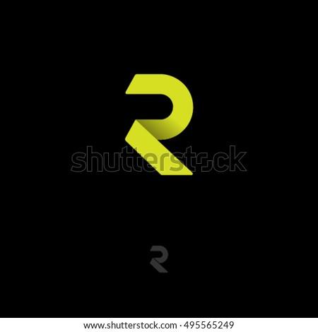 R logo. R monogram. Yellow origami letter on dark background. Stock fotó ©