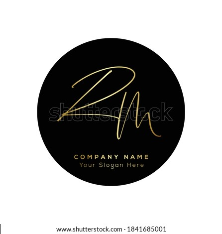 R M RM  Initial letter handwriting and signature logo. Beauty vector initial logo .Fashion, boutique, floral and botanical Stock fotó ©