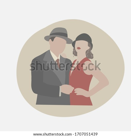 Rétro invitation card. Vector illustration. Silhouettes of couple wearing clothes in the style of the twenties. Portrait of retro couple. Photo stock ©