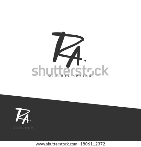 RA Initial handwriting or handwritten logo for identity. Logo with signature and hand drawn style. Stock fotó ©