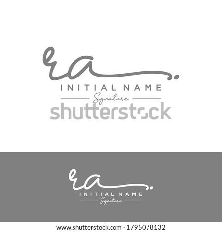 RA Initial letter handwriting and signature logo. Stock fotó ©