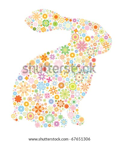 Rabbit-abstract rabbit with small flowers
