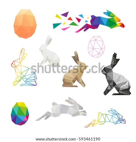 Rabbit abstract triangle Happy Easter. sketch design.Vector illustration.