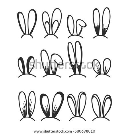 Rabbit and bunny ears set for Easter decoration