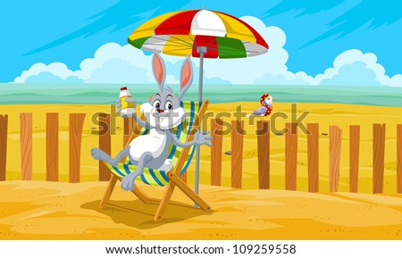 Rabbit at the Beach, Relaxing in the Sand, vector illustration