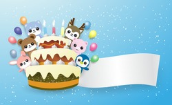 rabbit, bear,penguin,pig,raindeer and dog behide a cake happy birthday to you with colorful balloon . On the blue backgroundcopy space