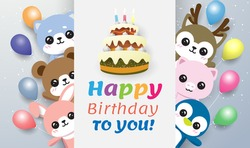 rabbit, bear,penguin,pig,reindeer and dog behind a card cake happy birthday to you with colorful balloon . On the blue-green background
