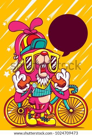 rabbit bike cartoon character