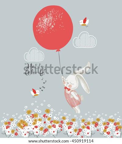 rabbit boy with balloon hand