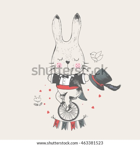 rabbit bunny ridding bicycle...