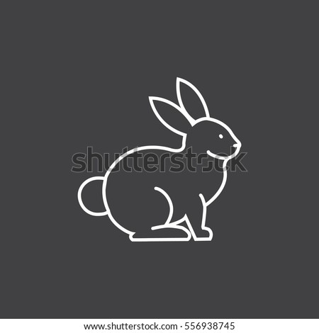 Rabbit, bunny web line icon.