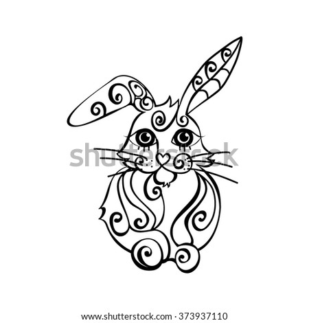 rabbit decorated outline