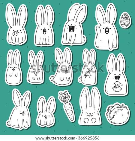 rabbit doodle set 12 sticker