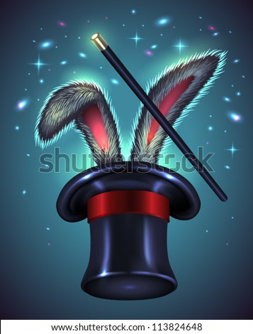 Rabbit ears appear from the magic top hat with wand on blue background - vector illustration.