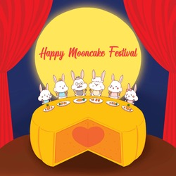 Rabbit family have party on huge mooncake for mid-autumn festival.