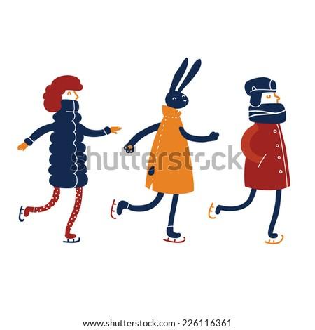 rabbit  girl and boy ice skating