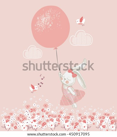 rabbit girl with balloon hand
