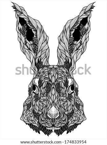 rabbit head tattoo vector illustration