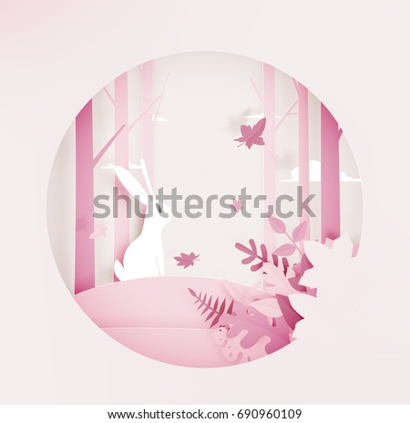 Rabbit in the woods with paper art style and beautiful pastel color background vector illustration