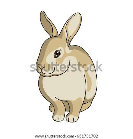 Rabbit is a pet. A rabbit with long ears. The fur of the rabbit is gray.Animals single icon in cartoon style vector symbol stock illustration web.