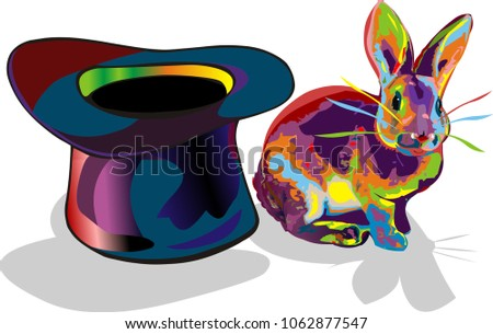 Rabbit magician hat rainbow colored drawing vector isolated on white background