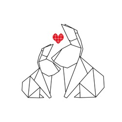 Rabbit origami with heart.