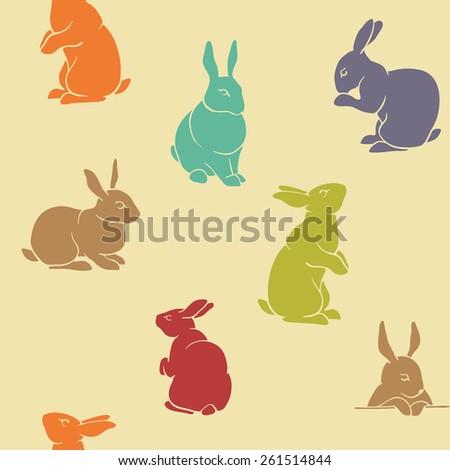 rabbit pattern color seamless...
