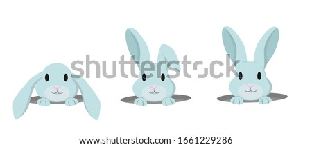 Rabbit peeps out of hole. Vector set of cute bunnies in cartoon style.