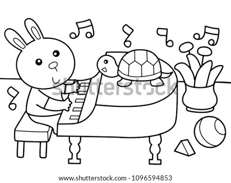 rabbit play piano with his
