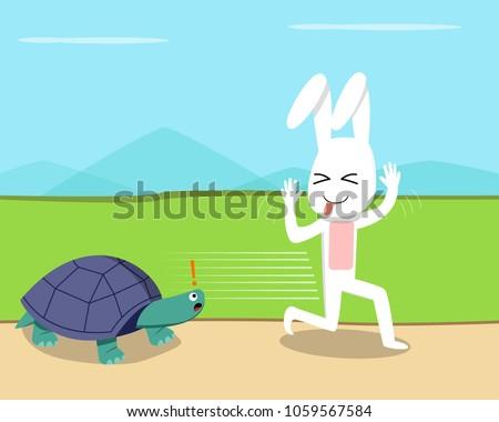 Rabbit ran over the turtle, vector design