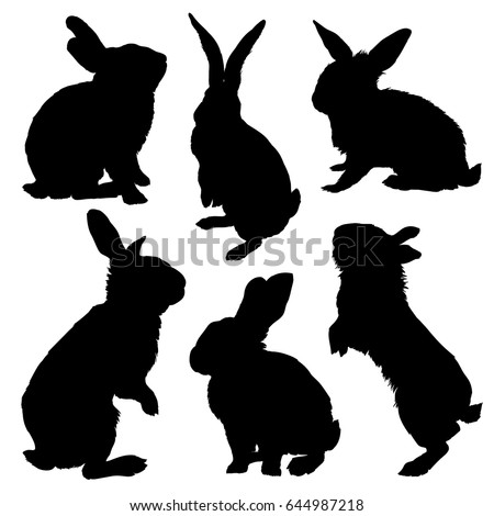 Rabbit silhouette set. Vector illustration