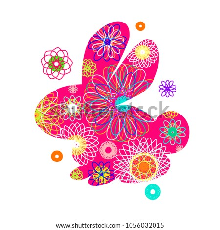 Rabbit silhouette with a bright abstract pattern. Vector illustration isolated on white background. Unusual bunny for the Easter design and cards