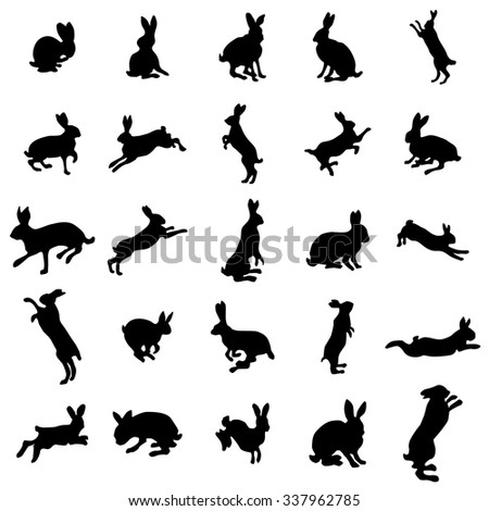 rabbit silhouettes set rabbit