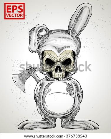rabbit skull or horror clown