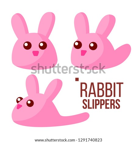 Rabbit Slippers Vector. Pink Female Home Footwear. Isolated Flat Cartoon Illustration