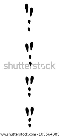 Rabbit tracks. Typical footprints when running - isolated black icon vector illustration on white background.