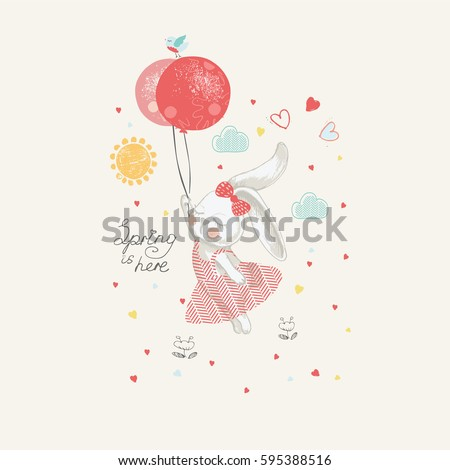 Rabbit with balloon.hand drawn vector illustration, can be used for kid's or baby's shirt design, fashion print design, fashion graphic, t-shirt, kids wear