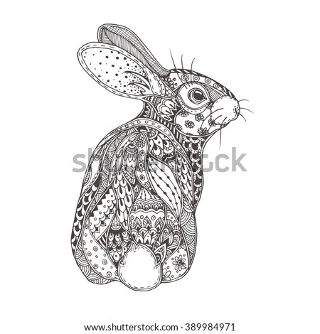 rabbit with ethnic floral