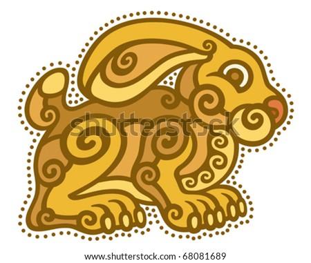 rabbit zodiac ethnic tribal decorative art drawing vector