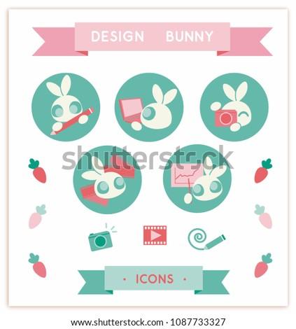 rabbits icons graphic design