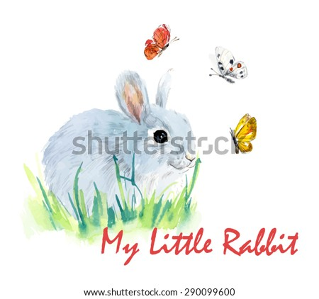 rabbits with butterflies