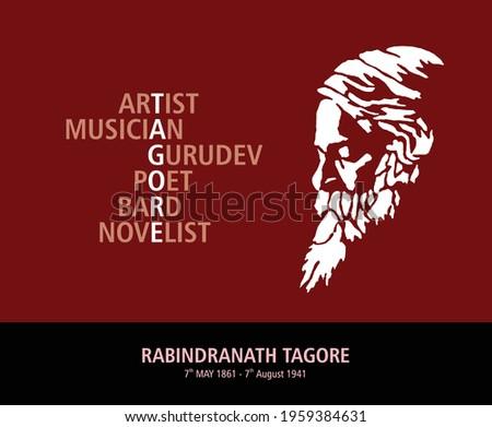 Rabindranath Tagore Jayanti celebration in Vector