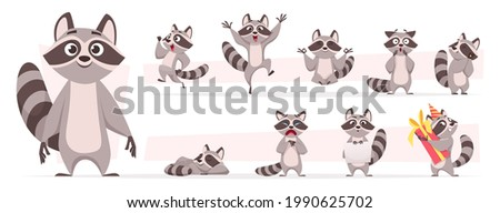Raccoon animal. Wild mammal cute smile playing and jumping in various action poses forest dweller exact vector cartoon funny mascot