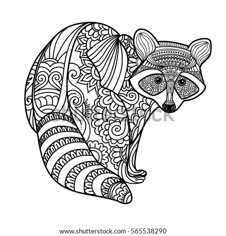 Royalty Free Stock Photos And Images Raccoon Black White Hand Inspiration Patterned Animals