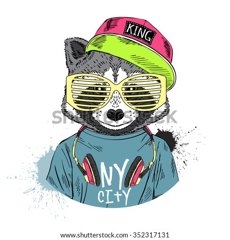 raccoon boy dressed up in cool