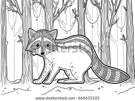 Stock Vector Raccoon Coloring Book Illustration Lace