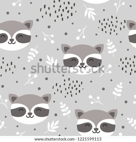 raccoon cute seamless pattern, cartoon background, hand drawn forest background with flowers and dots vector illustration